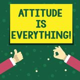 Handwriting text writing Attitude Is Everything. Concept meaning Motivation Inspiration Optimism important to succeed. Handwriting text writing Attitude Is royalty free illustration