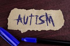 Handwriting text writing Autism. Concept meaning Autism Awareness conducted by social committee around the globe written on Tear C. Handwriting text writing Royalty Free Stock Photography