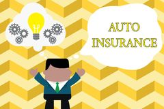 Handwriting text writing Auto Insurance. Concept meaning Protection against financial loss in case of accident Standing. Handwriting text writing Auto Insurance stock illustration