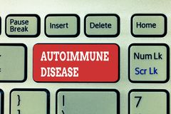 Handwriting text writing Autoimmune Disease. Concept meaning Unusual antibodies that target their own body tissues.  royalty free stock images