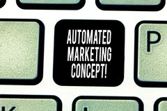 Handwriting text writing Automated Marketing Concept. Concept meaning automate repetitive tasks such as emails Keyboard. Key Intention to create computer stock images