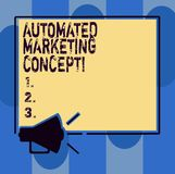 Handwriting text writing Automated Marketing Concept. Concept meaning automate repetitive tasks such as emails Megaphone Sound. Icon Outlines Blank Square royalty free illustration