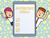Handwriting text writing Awesome Deal. Concept meaning A large but indefinite quantity as like as a good deal of money. Handwriting text writing Awesome Deal stock illustration
