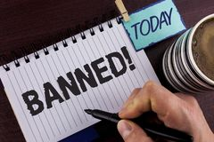 Handwriting text writing Banned Motivational Call. Concept meaning Ban on use of steroids, No excuse for building Muscles. written. By Man Notepad holding stock image
