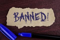 Handwriting text writing Banned Motivational Call. Concept meaning Ban on use of steroids, No excuse for building Muscles. written. Tear Cardboard paper piece royalty free stock image