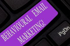 Handwriting text writing Behavioural Email Marketing. Concept meaning customercentric trigger base messaging strategy. Keyboard key Intention to create computer royalty free stock photography
