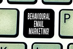 Handwriting text writing Behavioural Email Marketing. Concept meaning customercentric trigger base messaging strategy. Keyboard key Intention to create computer stock images