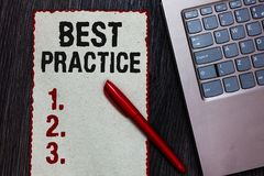 Handwriting text writing Best Practice. Concept meaning Method Systematic Touchstone Guidelines Framework Ethic Piece paper red bo. Rders black marker computer royalty free stock images