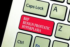 Handwriting text writing Bhp Benign Prostatic Hyperplasia. Concept meaning Noncancerous prostate gland enlargement.  stock photo