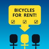 Handwriting text writing Bicycles For Rent. Concept meaning rents bikes for short periods of time usually few hours. Blank Space Color Arrow Pointing to One of royalty free illustration