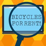 Handwriting text writing Bicycles For Rent. Concept meaning rents bikes for short periods of time usually few hours. Magnifying Glass Enlarging Tablet Blank stock illustration
