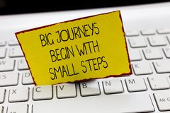 Handwriting text writing Big Journeys Begin With Small Steps. Concept meaning Start up a new business venture.  stock image