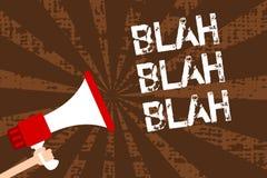 Handwriting text writing Blah Blah Blah. Concept meaning Talking too much false information gossips non-sense speaking Man holding. Megaphone loudspeaker grunge stock illustration