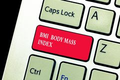 Handwriting text writing Bmi Body Mass Index. Concept meaning body fat based on weight and weight measurement stock photos