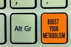 Handwriting text writing Boost Your Metabolism. Concept meaning Increase the efficiency in burning body fats.  royalty free stock photo