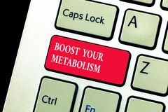 Handwriting text writing Boost Your Metabolism. Concept meaning Increase the efficiency in burning body fats.  royalty free stock photos