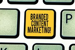 Handwriting text writing Branded Content Marketing. Concept meaning Involves creating content linked to a brand Keyboard. Key Intention to create computer stock photography