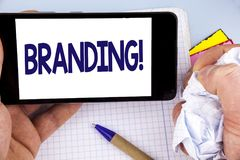 Handwriting text writing Branding Motivational Call. Concept meaning Creating a unique identity for new startup agencies written o. Handwriting text writing Royalty Free Stock Image