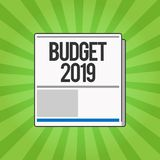Handwriting text writing Budget 2019. Concept meaning New year estimate of incomes and expenses Financial Plan.  royalty free illustration