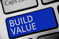 Handwriting text writing Build Value. Concept meaning efficient enough way that it will generate profit after cost Keyboard blue k. Ey Intention create computer royalty free stock photos