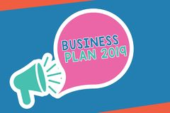 Handwriting text writing Business Plan 2019. Concept meaning Challenging Business Ideas and Goals for New Year.  royalty free illustration