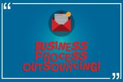 Handwriting text writing Business Process Outsourcing. Concept meaning Contracting work to external service provider. Open Envelope with Paper New Email Message royalty free illustration