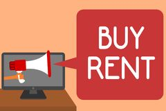 Handwriting text writing Buy Rent. Concept meaning choosing between purchasing something or paying for usage Man holding Megaphone. Loudspeaker computer screen royalty free illustration