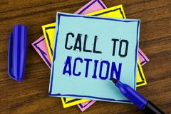 Handwriting text writing Call To Action. Concept meaning most important part of online digital marketing campaign written on Stick