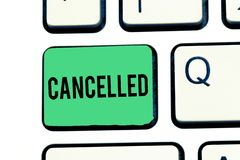 Handwriting text writing Cancelled. Concept meaning decide or announce that planned event will not take place Keyboard stock photography
