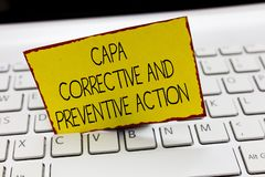 Handwriting text writing Capa Corrective And Preventive Action. Concept meaning Elimination of nonconformities.  royalty free stock image