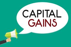 Handwriting text writing Capital Gains. Concept meaning Bonds Shares Stocks Profit Income Tax Investment Funds Man stock illustration
