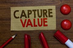 Handwriting text writing Capture Value. Concept meaning Customer Relationship Satisfy Needs Brand Strength Retention Paperboard ma. Rkers pencil wooden royalty free stock images