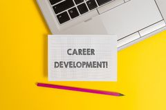 Handwriting text writing Career Development. Concept meaning Lifelong learning Improving skills to get a better job Top. Handwriting text writing Career royalty free stock photos