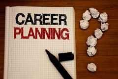 Handwriting text writing Career Planning. Concept meaning Professional Development Educational Strategy Job Growth Text notebook b. Lack marker open desk stock images