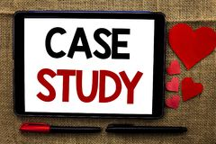 Handwriting text writing Case Study. Concept meaning Research Information Analysis Observe Learn Discuss Criteria written on Table. Handwriting text writing Case Stock Photo