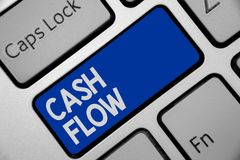 Handwriting text writing Cash Flow. Concept meaning Movement of the money in and out affecting the liquidity Keyboard blue key Int. Ention create computer stock photos