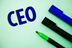 Handwriting text writing Ceo. Concept meaning Chief Executive Officer Head Boss Chairperson Chairman Controller Ideas messages fee. Lings intentions reflection royalty free stock photography