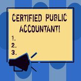 Handwriting text writing Certified Public Accountant. Concept meaning accredited professional body of accountants. Megaphone Sound icon Outlines Blank Square vector illustration