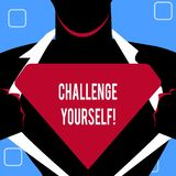 Handwriting text writing Challenge Yourself. Concept meaning Overcome Confidence Strong Encouragement Improvement Dare. Handwriting text writing Challenge vector illustration