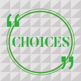 Handwriting text writing Choices. Concept meaning Options Choosing between two or more possibilities Decisions.  stock illustration