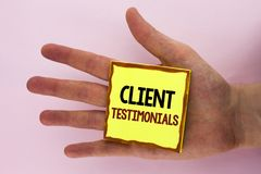 Handwriting text writing Client Testimonials. Concept meaning Customer Personal Experiences Reviews Opinions Feedback written on S. Handwriting text writing Royalty Free Stock Photography