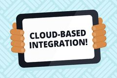 Handwriting text writing Cloud Based Integration. Concept meaning tools and technologies that connects applications. Handwriting text writing Cloud Based vector illustration