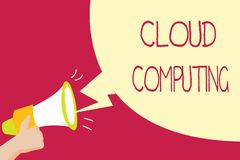 Handwriting text writing Cloud Computing. Concept meaning use a network of remote servers hosted on the Internet.  royalty free illustration