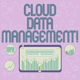Handwriting text writing Cloud Data Management. Concept meaning A technique to analysisage data across cloud platforms royalty free illustration