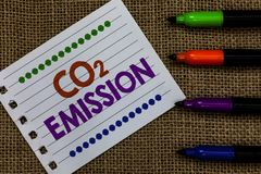 Handwriting text writing Co2 Emission. Concept meaning Releasing of greenhouse gases into the atmosphere over time Notebook Paper. Important reminder Royalty Free Stock Photography