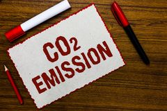 Handwriting text writing Co2 Emission. Concept meaning Releasing of greenhouse gases into the atmosphere over time White paper red. Borders markers wooden royalty free stock photography
