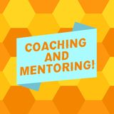 Handwriting text writing Coaching And Mentoring. Concept meaning capacity development process to achieve goals Blank. Color Folded Banner Strip Flat Style photo royalty free illustration