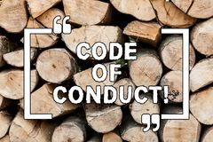 Handwriting text writing Code Of Conduct. Concept meaning Ethics rules moral codes ethical principles values respect royalty free stock images