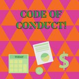 Handwriting text writing Code Of Conduct. Concept meaning Follow principles and standards for business integrity. Handwriting text writing Code Of Conduct stock illustration