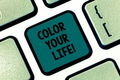 Handwriting text writing Color Your Life. Concept meaning Make your days colorful be cheerful motivated inspired. Keyboard key Intention to create computer royalty free stock photography